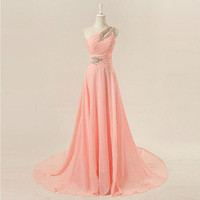 One-shoulder floor-length chiffon beading appliques long prom dress from sweetheart dresses