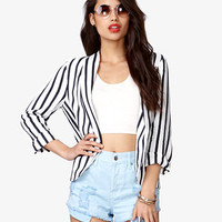 Open-Front Striped Blazer | FOREVER 21 - 2036314900