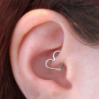 Gauge Heart Ear Cartilage Earring, Sterling Silver OR Gold Filled