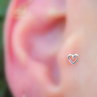 Tragus/Nose Ring/Cartilage Earring Sterling Silver Valentine Heart