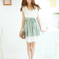 Green Splicing Girls Freshing Dresses Chic : Wholesaleclothing4u.com