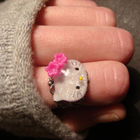 Hello Kitty Antique Silver Filigree Ring by CreepyCreationz