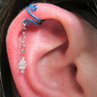 Spiral Ear Cuff with Dangle - Peacock Blue