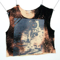 OOAK Astronaut Sleeveless Grunge Crop Top Nasa Buzz by ccfashion