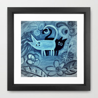 cats in blue  Framed Art Print by Marianna Tankelevich