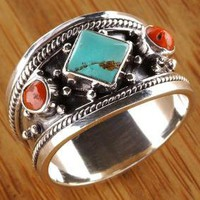 Handmade Silver Turquoise and Faux Coral Ring (Nepal)
