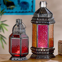 Rangoli Table Lantern, (red)