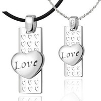 Matching Love Heart Sterling Silver Pair Necklace Set - GULLEITRUSTMART.COM