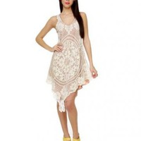 Scoop Empire Waist Lace Satin Back Knee Length White Dresses