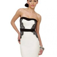 Strapless Straight Natural Waist Satin Knee Length Black And White Dresses