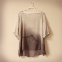 sale gray silk chiffon blouse by wytheshop on Etsy