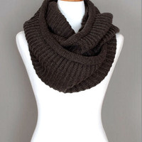 Grey Soft Infinity Knitted Scarf #1