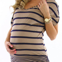 Blue-Mocha-Striped-Maternity-Top