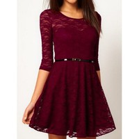 Purplish Red Lace Bodycon Dress