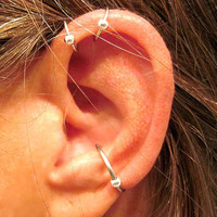 "3 Cartilage Cuffs - 2 No Piercing ""Captive Ball"" Helix Ear Cuffs & 1 Captive Ball Conch Cuff Handmade Silver Tone or 17 Color Choices"