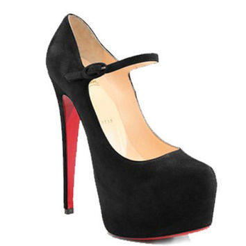 Christian Louboutin Lady Daf 160mm Suede Mary Jane Pumps Black
