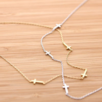 girlsluv.it - 3ways tiny SIDEWAYS CROSS necklace, 2 colors
