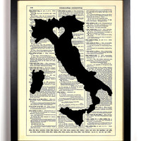 Map Of  Italy With Heart Repurposed Book Upcycled Dictionary Art Vintage Book Print Recycled Vintage Dictionary Page  Buy 2 Get 1 FREE