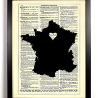 Map Of France With Heart Repurposed Book Upcycled Dictionary Art Vintage Book Print Recycled Vintage Dictionary Page  Buy 2 Get 1 FREE