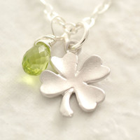 St. Patricks Day Necklace - four clover necklace, shamrock necklace, silver shamrock, green clover, lucky charm necklace