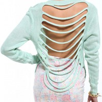 Slashed Back Sweater in Mint