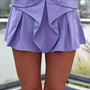 Purple Bow Front Shorts with Pleated Waist Detail