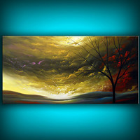 art original abstract art painting original acrylic painting cloud stars large tree painting sunset 24 x 48 Mattsart