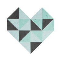 Geometric Heart (Blue) Art Print by Skye Zambrana | Society6
