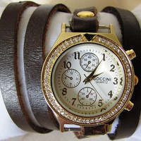 Handmade Bracelet Gold Leather Wrap Watch - Women Watch  FREE SHIPPING