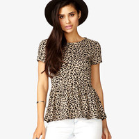 Leopard Print Peplum Top
