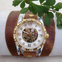 Skeleton Leather Wrap Woman Watch. FREE SHIPPING