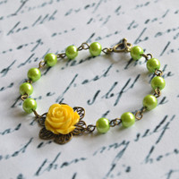 Flower Bracelet Flower Girl Bracelet Pearl Bridesmaid Bracelet Vintage Rose Bracelet - Handmade