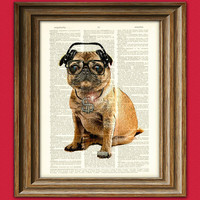 Pug DMC Hip Hop Pug with iced-out bling and DJ Headphones original art vintage dictionary page book art print