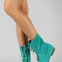 Staci-01 Lace Up Round Toe Boot