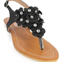 flat sandal with flower front  - debshops.com