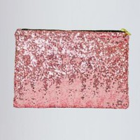Pink Sequin Clutch with Animal Print Interior