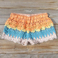Desert Sunset Lace Shorts, Women's Sweet Bohemian Clothing