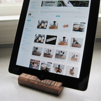 iPad Stand - reclaimed wood oak fence board rustic wooden ipad holder