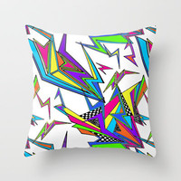 Neon Ka-Pow! (white) Throw Pillow by Jacqueline Maldonado | Society6