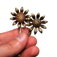 "Flower Hair Accessories, Vintage Sunflower Bobby Pin Set, Floral Gold Bronze Hair Pins, Nickel Free, Antique Wedding - ""Ilah & Clytie"""
