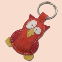 Cute little orange owl leather animal keychain by snis on Etsy