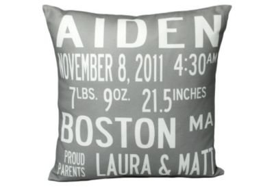One Kings Lane - Gifts for Baby - Personalized Announcement Pillow, Gray