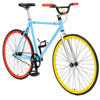Fixed-Gear Bicycle - Light Blue Frame with Yellow and Red Wheels | Unique and Fun Gifts from Areaware, bkr, Pombos, Playsam and more at Erie Drive