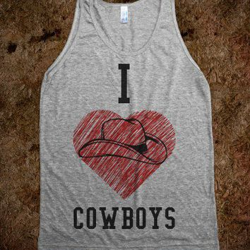 I Heart Cowboys-Unisex Athletic Grey Tank