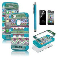 Pandamimi ULAK(TM) 3-Piece Hybrid High Impact Case Tribal Blue Silicone for iphone 4 4S +Screen Protector+Stylus