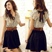 Korea Sexy Ladies Wave Collar Chiffon Dots Polka Waist w/belt Pleated Mini Dress