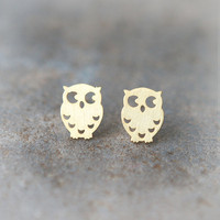 Cute Owl earrings in gold by laonato on Etsy