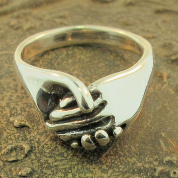 $95.00 Silver Hand Ring by martymagic on Etsy