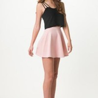 Light Pink Skater Skirt with Elastic Waist