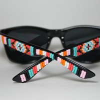 hand beaded sunglasses tribal print by brownbeadednet on Etsy